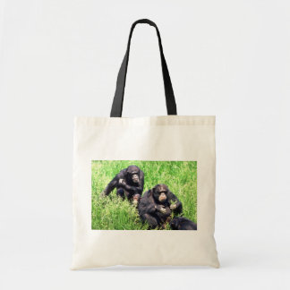 Chimpanzees eating grass (note infant) tote bag