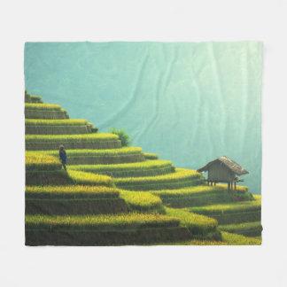 China agriculture rice harvest fleece blanket