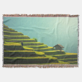 China agriculture rice harvest throw blanket