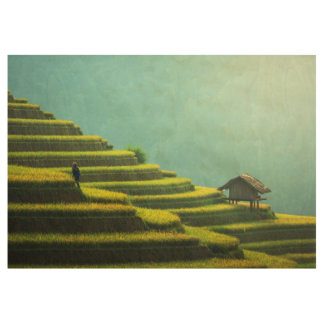 China agriculture rice harvest wood poster