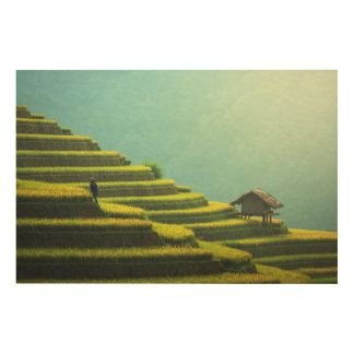China agriculture rice harvest wood print