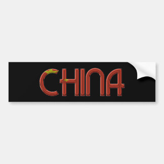 China Chinese Flag Colors Typography Bumper Sticker