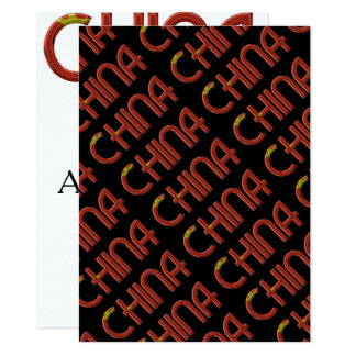 China Chinese Flag Colors Typography Card