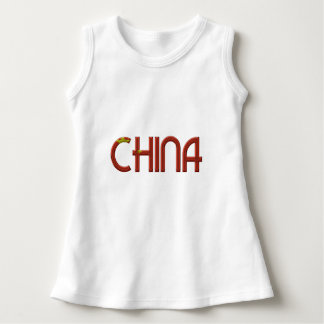 China Chinese Flag Colors Typography Dress