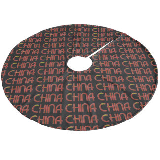 China Chinese Flag Colors Typography Fleece Tree Skirt