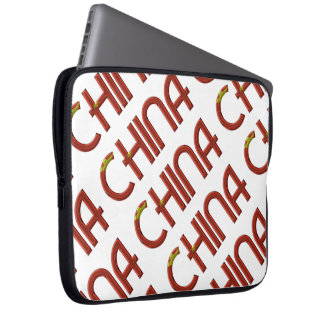 China Chinese Flag Colors Typography Laptop Sleeve