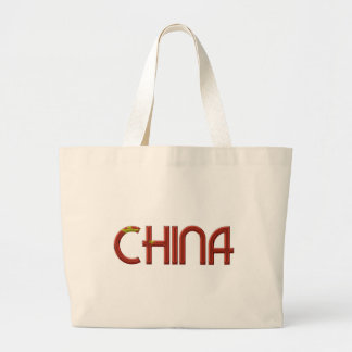 China Chinese Flag Colors Typography Large Tote Bag