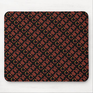 China Chinese Flag Colors Typography Mouse Pad