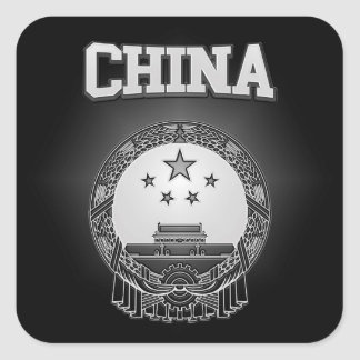 China Coat of Arms Square Sticker