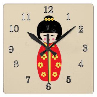 China Doll Square Wall Clock