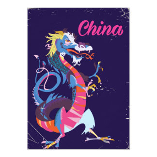 China Dragon vintage style travel poster 11 Cm X 16 Cm Invitation Card