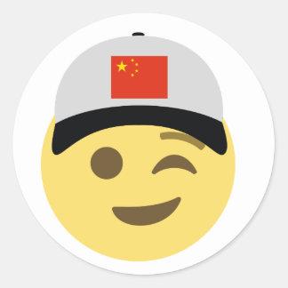 China Emoji Baseball Hat Classic Round Sticker