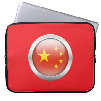 China Flag in Orb Laptop Computer Sleeve