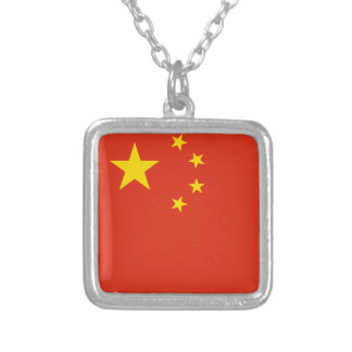 China Flag Silver Plated Necklace