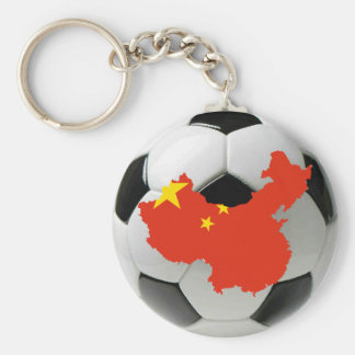 China football soccer basic round button key ring