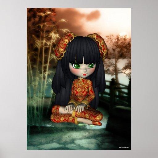 China Girl Beautiful Orient Print