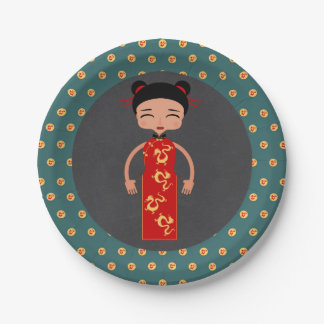 China girl birthday party paper plate