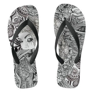 China girl in black and white flop flops thongs