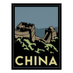 china great wall asia art deco retro travel poster