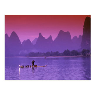 China, Guanxi. Li river single cormorant Postcard