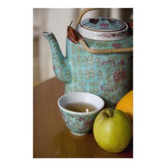 China, Hong Kong. Traditional Chinese teapot & 2 Photo
