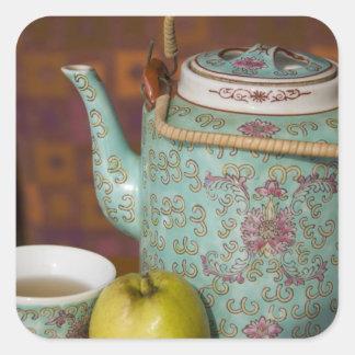 China, Hong Kong. Traditional Chinese teapot & 2 Square Sticker