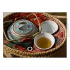 China, Hong Kong. Traditional Chinese teapot & 3 Card