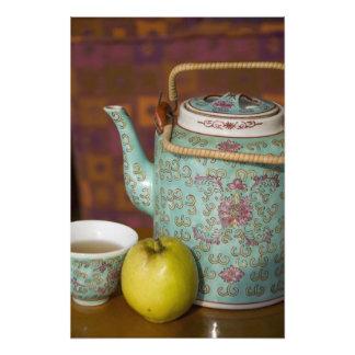 China, Hong Kong. Traditional Chinese teapot & 3 Photo