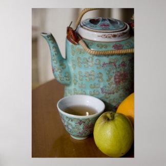 China, Hong Kong. Traditional Chinese teapot & Poster