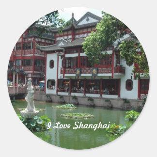 China: I Love Shanghai, China Round Sticker