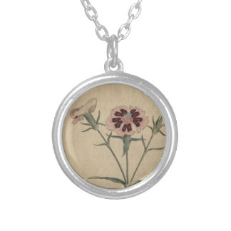 China India Pink Flower Silver Plated Necklace