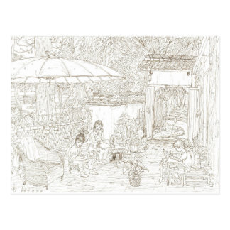 China kids art class Anji. urban sketch. Postcard