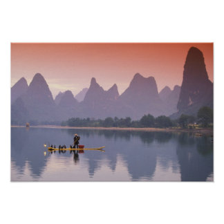 China, Li River. Single cormorant fisherman. Poster
