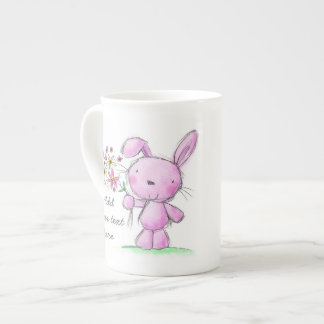 ♥ CHINA MUG ♥ cute pink lilac bunny rabbit