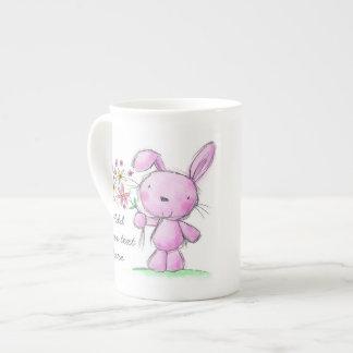 ♥ CHINA MUG ♥ cute pink lilac bunny rabbit Bone China Mug