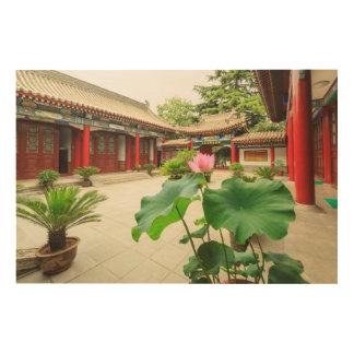 China Pagoda Interior Wood Print