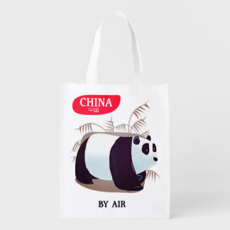 China Panda travel poster Reusable Grocery Bag