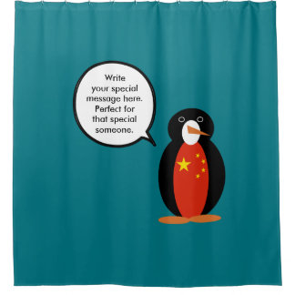 China People's Republic Penguin Shower Curtain