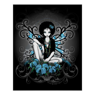 China Retro Teal Lilly Afro Fae Poster