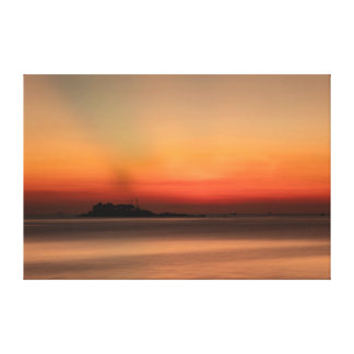 China Sea Sunrise Orange Canvas