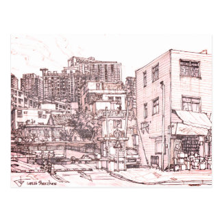 China, Shanzhen. urban sketch Postcard