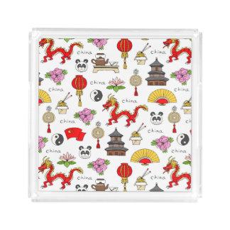 China Symbols Pattern Acrylic Tray