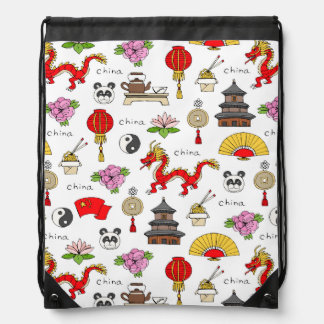 China Symbols Pattern Drawstring Bag