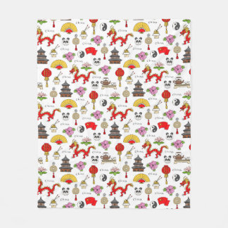 China Symbols Pattern Fleece Blanket