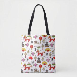 China Symbols Pattern Tote Bag