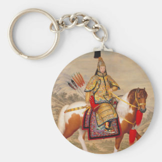 China's Qianlong Emperor 乾隆帝 in Ceremonial Armour Basic Round Button Key Ring