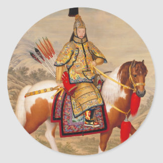 China's Qianlong Emperor 乾隆帝 in Ceremonial Armour Round Sticker