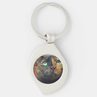 ChinaTown Kitty Keychain Silver-Colored Swirl Key Ring