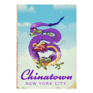 Chinatown New York city vintage poster