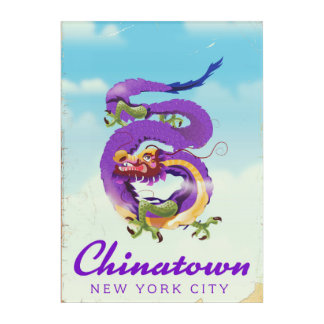 Chinatown New York city vintage poster Acrylic Print